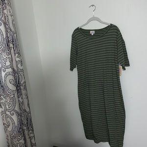 LULAROE - NWT Green Striped Julia Dress